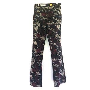 Anthro pilcro cords flare leg floral corduroy 26